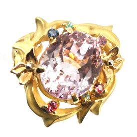 K18 大粒 クンツァイト・パライバ・サファイア 宝石リング#14〔 天然石 パワーストーン アクセサリー 〕