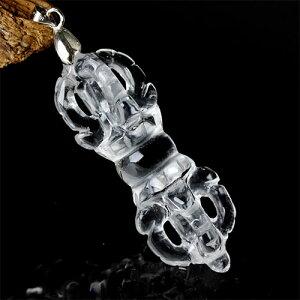 「智慧を象徴」チベット法器 天然水晶 バジュラ 金剛杵 全長55mm-61.5mm 1点〔 天然石 パワーストーン アクセサリー 〕