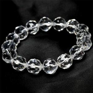 宝石質 天然水晶 スターカット ブレスレット 約16mm 1本〔 天然石 パワーストーン アクセサリー 〕