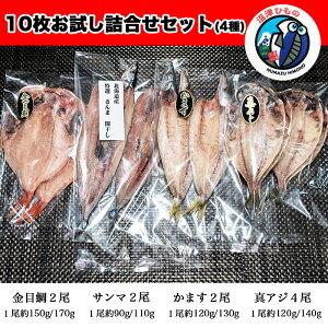 干物 詰め合わせ 4種類 10枚 沼津 直送 真あじ かます 金目鯛 さんま