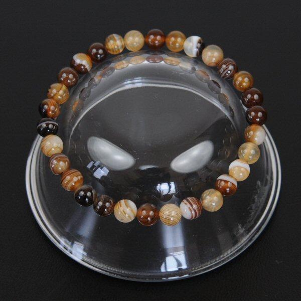 【メール便 送料無料】パワーストーン ブラウン チベットメノウ 6mm玉ブレスレット【茶天眼石/天然石/6ミリ数珠チベット瑪瑙】 ┃