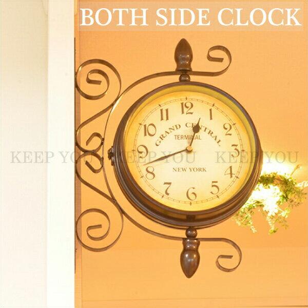 壁掛け時計 両面壁掛け時計 clock BOTH SIDE CLOCK 回転式 レトロ調 アンティーク調 時計 インテリア【壁掛け時計 アメリカ雑貨 カントリー 雑貨 インテリア雑貨】 ┃