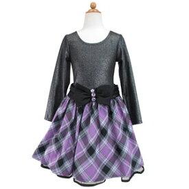 SALE ジュニア ドレス ワンピース チェック柄 結婚式 発表会 パーティー ブラック パープル 120 130 140 150 160 ウェストリボンがキュートなチェック柄スカートのレイヤード風ワンピース