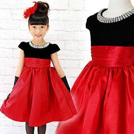 SALE ブラックベロア ラウンドビジュー レッドスカートドレス 胸元ラウンドビジューがキラキラ ブラックベロアのトップと赤のスカートが鮮やかなフォーマルドレス
