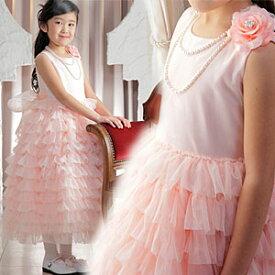 SALE 女の子 プリンセスドレス フォーマル ソフトチュール パステルカラー シフォンフリルスカートドレス ピーチピンク バラのコサージュ付き 90 100 110 120 130 140cm