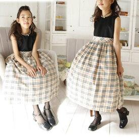 SALE タータンチェック柄が上品な英国風上品 ブリティッシュロングドレス お嬢様 ベージュ