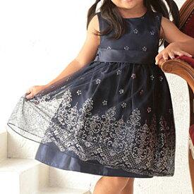 女の子フォーマルドレス ハイウエスト キラキラ刺繍シフォン ネイビーグリッタープリンセスドレス 100 105 110cm コンクール ピアノ発表会