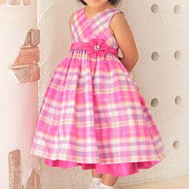 女の子フォーマルドレス コサージュ付きピンクのタータンチェック柄プリンセスドレス OK 100 110 120 125cm ビビットカラー ショッキングピンク 派手色 原宿系 パーティ 誕生日ワンピース フレアスカート かわいい