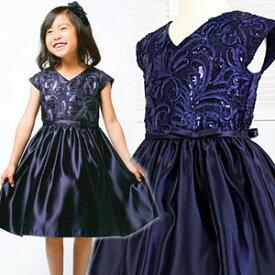 SALE 女の子フォーマル キラキラスパンコールリボン刺繍サテンドレス 120 130 140 150 160cm ネイビー 紺 濃紺 ノースリーブ ワンピース 舞台 バレリーナ ハイウエスト