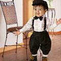 子供スーツ★サスペンダー付き黒のフォーマルニッカボッカ4点セットセール
