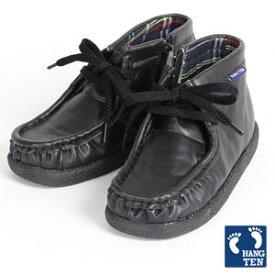 カジュアル&フォーマルにも♪キッズスムースワラビーブーツ HANG TEN ハンテン黒「ブラック」