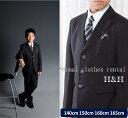 卒業入学専用[男の子 スーツ][卒業式 スーツ]男の子フォーマルレンタル・ブラック/三つボタンベーシックスーツフルセット・140cm/150cm/160cm/1...