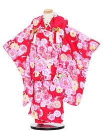 【レンタル】七五三レンタル 女の子 3歳着物フルセットワインレッド色着物×ワインレッド色被布 花 被布セット 子供着物 貸衣装 3078