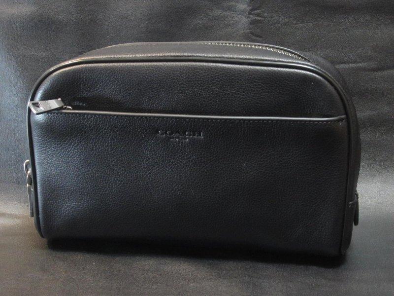 本物箱付■COACHコーチ■セカンドバッグ/ポーチレザーTRAVEL KIT/59884 黒