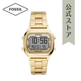 2021 夏の新作 フォッシル 腕時計 ゴールド デジタル メンズ FOSSIL 時計 FS5843 RETRO DIGITAL レトロデジタル 公式 2年 保証