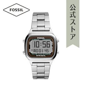2021 夏の新作 フォッシル 腕時計 シルバー デジタル メンズ FOSSIL 時計 FS5844 RETRO DIGITAL レトロデジタル 公式 2年 保証