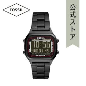 2021 夏の新作 フォッシル 腕時計 ブラック デジタル メンズ FOSSIL 時計 FS5845 RETRO DIGITAL レトロデジタル 公式 2年 保証