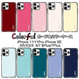 iphone11 ケース iPhoneSE(第2世代) iphone11Pro ケース 背面ドアにカード収納 全10色 GOOD LUCK DOOR 背面カードミラーケース iphoneXS iphoneXR iphone8 ケース iphone8plus iphonese ケース ミラー付 パステルカラー iphoneSE(2020) iphonese2