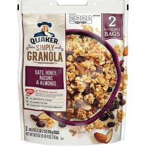 Quaker Simply Granola Cereal, 2 Bags / クエーカー シンプリー グラノーラ 全粒 シリアル (オーツ, ハニー, レーズン&アーモンド) 2袋 (978g x 2)