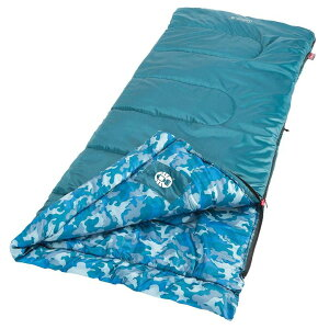 コールマン Coleman レクタングラー 子供用 寝袋 最適温度 7.2 ℃ 165cmまで対応 ブルー カモフラージュ 並行輸入品