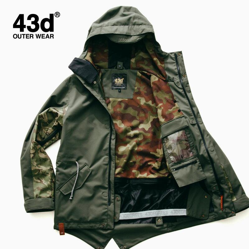 【セール】スノーボードウェア ジャケット 単品 ユニセックス 43Degrees モッズコート type〈セール品の為交換返品不可〉