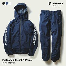 unitement ( ユナイトメント ) ゴルフウェア メンズ 上下 セット ゴルフ ウインドブレーカー ジャケット & パンツ 春 コーディネート 長袖 上着 ズボン 雨具 防寒 防風 撥水 ブラック ネイビー ホワイト グレー Protection Jacket & Pants FS-UM011012