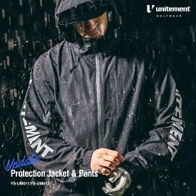 ゴルフ レインウェア メンズ 上下 unitement Protection Jacket & Pants 防風性 撥水性 上着 ウインドブレーカー ウィンドブレーカー GOLF ゴルフウェア