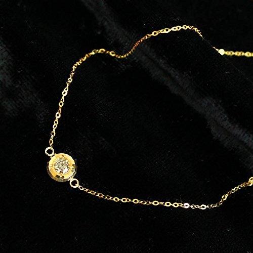 K18ゴールド 天然ダイヤモンド 0.1ct フクリン留め ブレスレット 【鑑別書付】プレゼント 記念日 【楽ギフ_包装】
