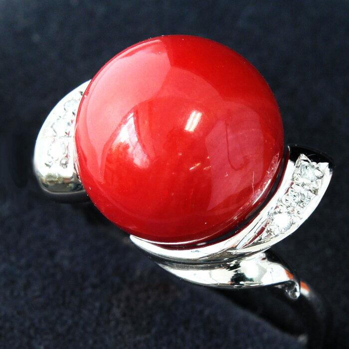 【鑑別書付】大粒12mm天然珊瑚ダイヤモンドさんごサンゴPt900リング指輪3月誕生石//