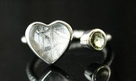 ギベオン隕石 モルダバイト ハート デザイン リング 指輪 SV925 シルバー フリーサイズ