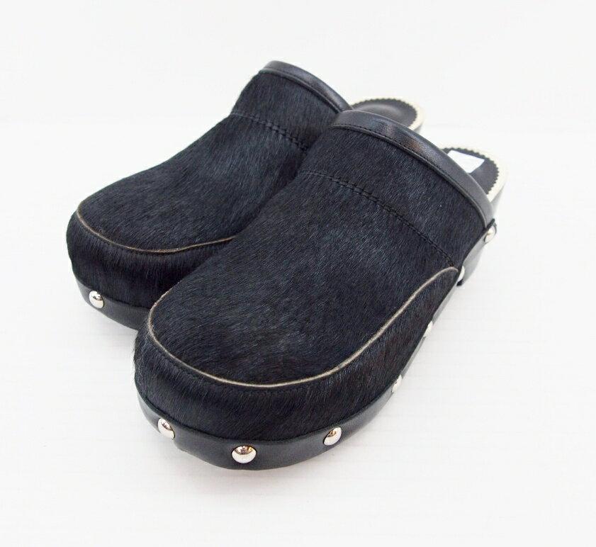 tricot COMME des GARCONS (トリコ コムデ ギャルソン) ハラコ サボ サンダル サイズ:24cm カラー:ブラック【中古】【その他靴】【鈴鹿 併売品】【140-170507-01OS】