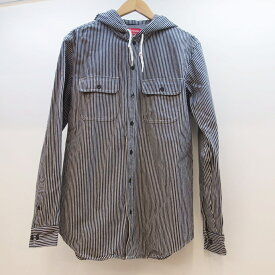 Supreme(シュプリーム) Hooded Denim Shirt フーデッド デニムシャツ ヒッコリー サイズ:M カラー:ネイビー【中古】【126 ストリート】【鈴鹿 併売品】【126-190531-03OS】