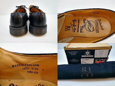 RICO×GEORGECOX(リコ×ジョージコックス)スクエアパンチングレザーシューズサイズ:7(26cm)カラー:ブラック【中古】【その他靴】【鈴鹿併売品】【1404227OS】