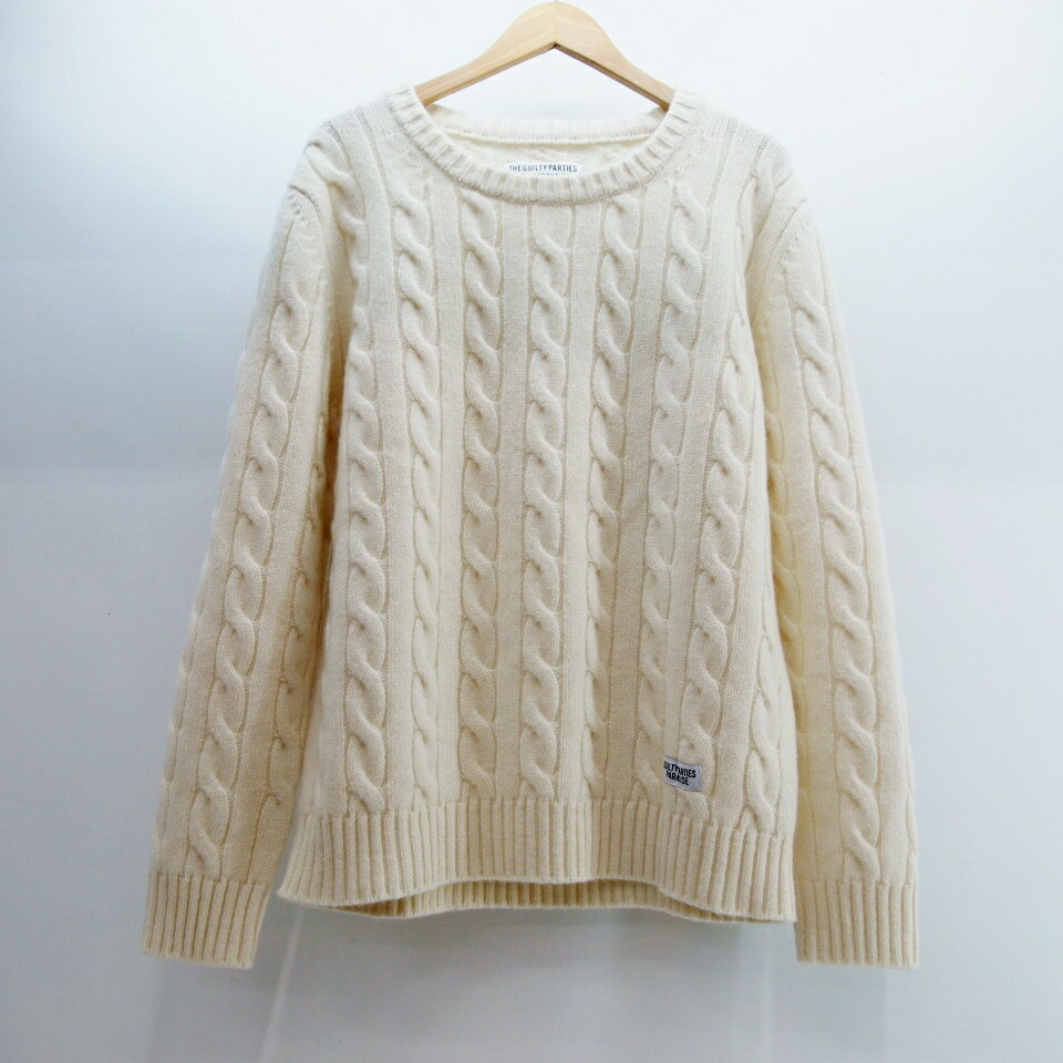 WACKO MARIA (ワコマリア) CREW NECK CABLE SWEATER GUILTY PARTIES サイズ:L カラー:ブオフホワイト【中古】【ルード】【鈴鹿 併売品】【127-171118-02OS】
