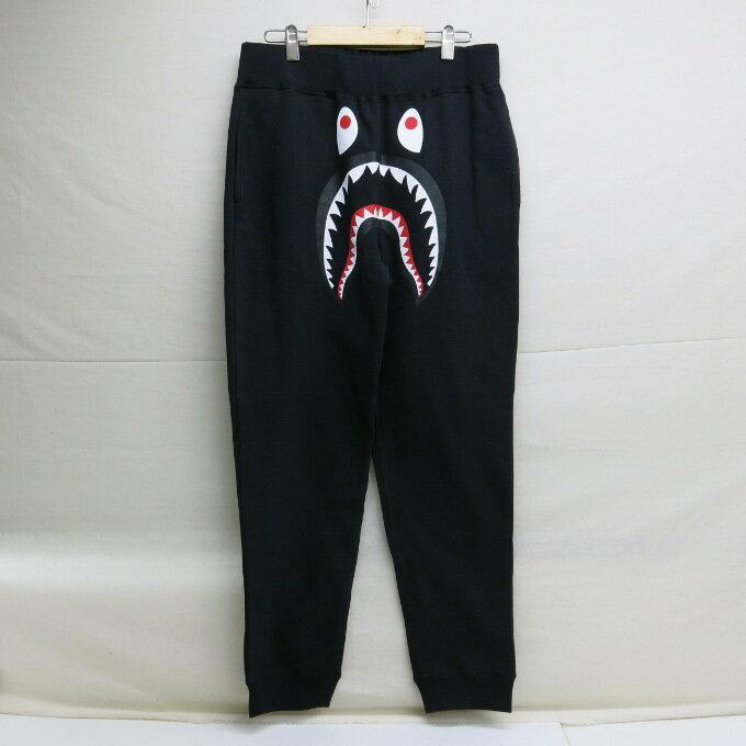 A BATHING APE SHARK SLIM SWEAT PANTS アベイシングエイプ シャーク スリム スウェットパンツ ブラック サイズ:L【中古】【ストリート】【四日市 併売品】【126-171204-03USH】