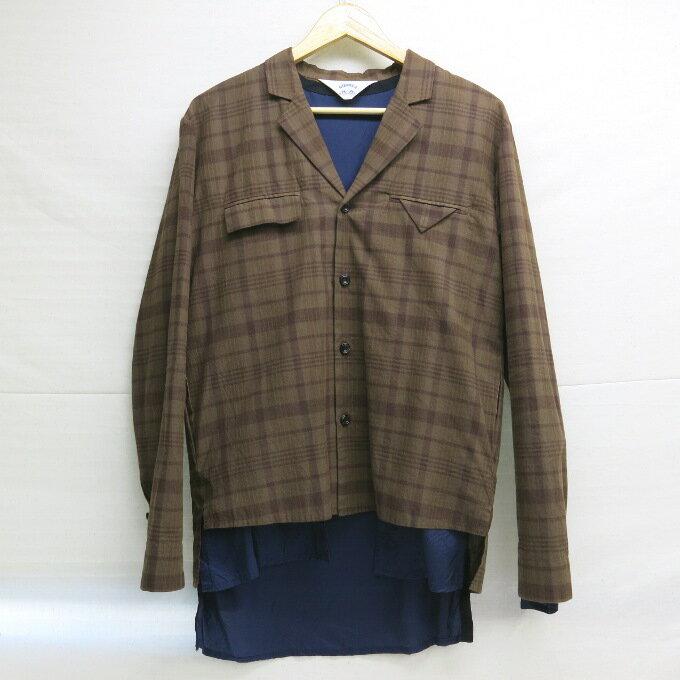SUNSEA Sho-ken Shirt+Shadow サンシー ショーケン シャツ+シャドウ レイヤードシャツ ブラウン サイズ:3【中古】【DM】【四日市 併売品】【125-171218-08USH】