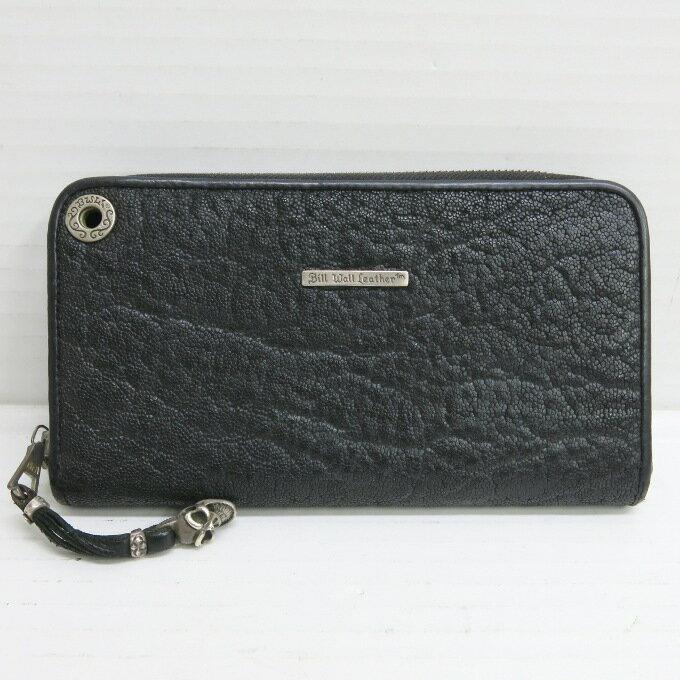 Bill Wall Leather W948 Zipper Wallet / Elephant ビルウォールレザー 象革仕様 ジップレザー ウォレット ブラック【中古】【財布】【四日市 併売品】【138-180317-09USH】