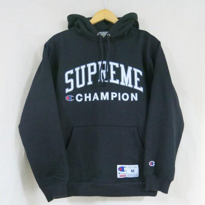 Supreme×Champion 17SS Hooded Sweatshirt シュプリーム×チャンピオン フーデッド スウェットシャツ ブラック サイズ:M【中古】【ストリート】【四日市 併売品】【126-180531-15USH】