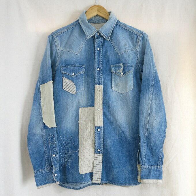 SEVESKIG(セヴシグ) リメイクデニムシャツ SH-SV-LS-1004 インディゴ サイズ:L【中古】【DM】【四日市 併売品】【125-180819-13USH】