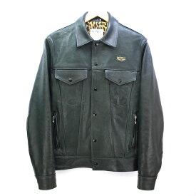 HYSTERIC GLAMOUR×Lewis Leathers 18ss Western Jacket  ヒステリックグラマー ルイスレザー ウエスタンジャケット ラムレザー Mサイズ/グリーン/02181LB01/羊革【中古】【DM】【四日市 併売品】【125-180921-01CH】