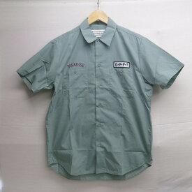 WACKO MARIA TWILL S/S WORK SHIRT (TYPE-1) ワコマリア ツイル ワークシャツ (タイプ1) グリーン サイズ:L【中古】【ルード】【四日市 併売品】【127-181025-01USH】