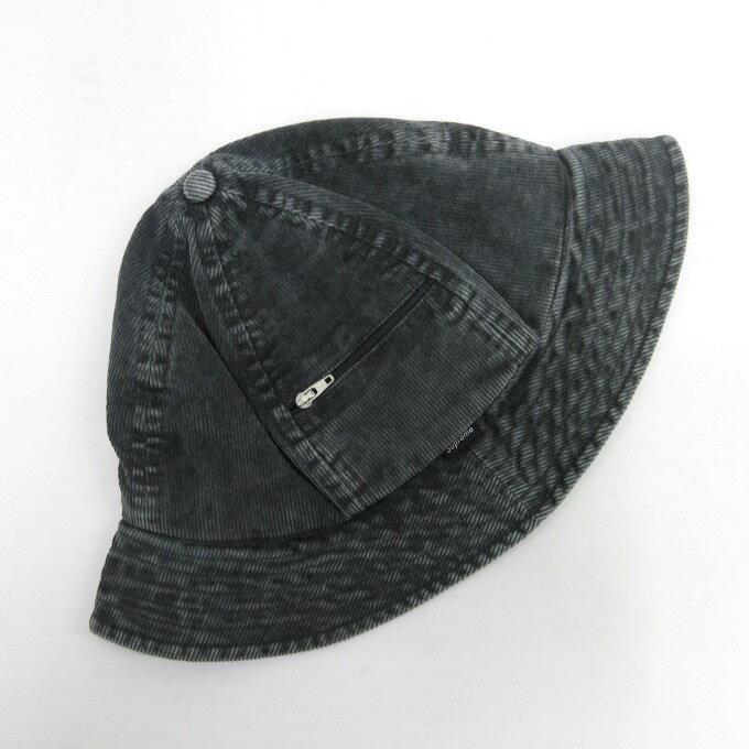 SUPREME 16SS Cord Zip Bell Hat シュプリーム コード ジップ ベル ハット ブラック サイズ:スモール/ミディアム【中古】【その他帽子】【四日市 併売品】【136-190129-05USH】