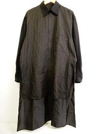 Yohji Yamamoto POUR HOMME(ヨウジヤマモト プールオム) 18SS ストライプ柄 スタッフ シャツ ブラック サイズ:3【中古】【125 DM】【四日市 併売品】【125-190707-02YH】