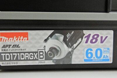 マキタMakita充電式インパクトドライバ黒18V6Ahバッテリ2本・充電器・ケース付TD171DRGXBインパクトドライバー【新古品・未使用品】【四日市専売品】【103-190206-01ah】