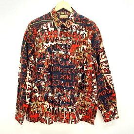BURBERRY Graffiti Archive Scarf Print Cotton Shirt バーバリー グラフィティ アーカイブ スカーフプリント シャツ 8001137 レッド/ネイビー サイズ:XL【中古】【122 インポート】【四日市 併売品】【122-200117-02USH】
