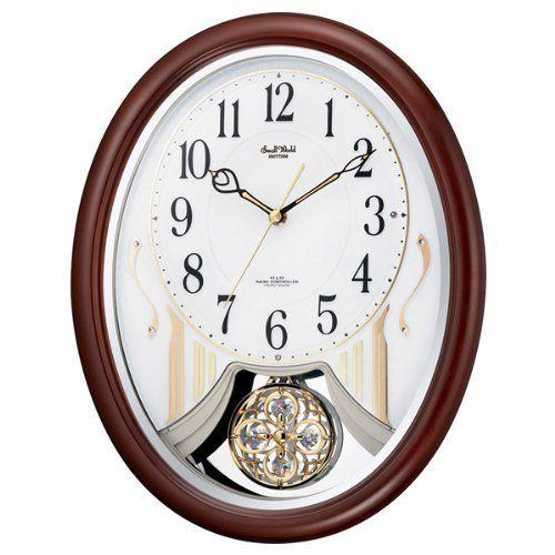掛け時計 壁掛け時計 振り子時計 電波時計 シチズン リズム時計 スモールワールドストリーム アナログ 振り子時計 30曲メロディ 4MN510RH06 CITIZEN