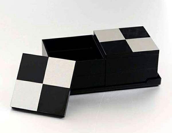 市松 silver 4.0 二段 オードブル重 黒 重箱 じゅうばこ KZ2699 北市漆器店