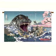 GODZILLAゴジラ富嶽三十六景大怪獣桜之宴のれん暖簾ゴジ桜サイズ55×85cm日本製