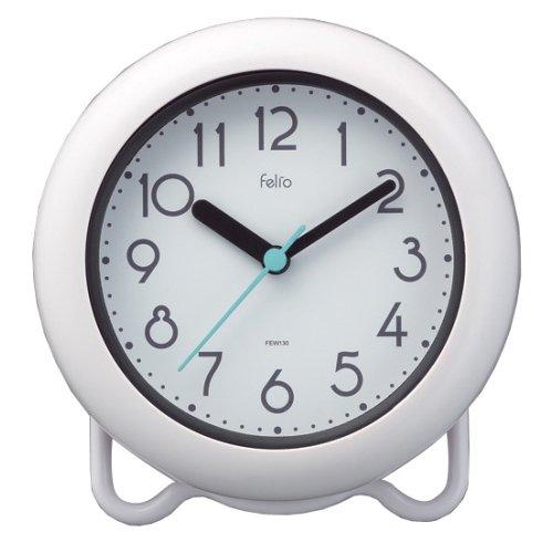 お風呂 時計 防水 防滴 バスクロック バブルコート 置き時計 置時計 ノア精密 FEW130 WH