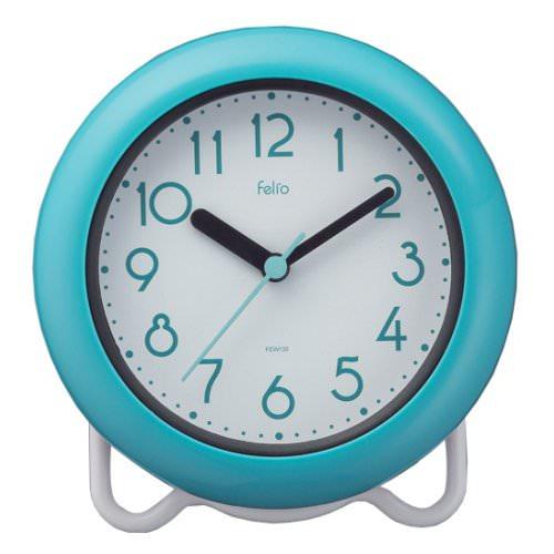 お風呂 時計 防水 防滴 バスクロック バブルコート 置き時計 置時計 ノア精密 FEW130 BU